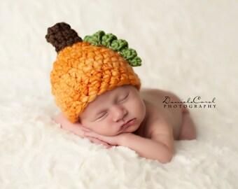 Newborn Pumpkin Handspun Thick Thin Baby Hat Halloween Autumn