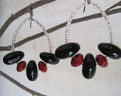 Black and Red Dangle Earrings with Crystals, Glass Beads and Seed Beads