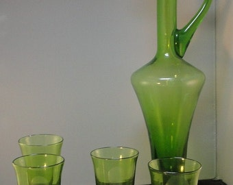 Mid Century Italy Art Glass Decanter Cordial Glass Barware Set