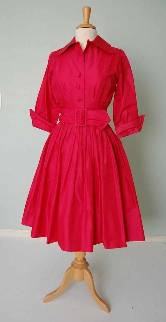 1950s Suzy Perette Lipstick Red Silk Taffeta Dinner Dress - Yummy - New Look