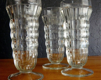 Vintage Three Small Parfait Milkshake Dessert Footed Glasses