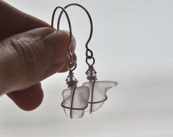 Purple Seaglass Earrings - Seaglass Jewelry - Purple Earrings - Sterling Silver