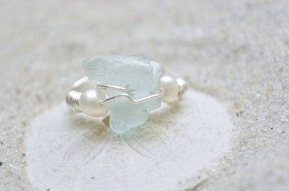 Seaglass Pearl Ring - Aqua Blue Seaglass and Two White Pearls on a Wire Wrapped Ring Size 7