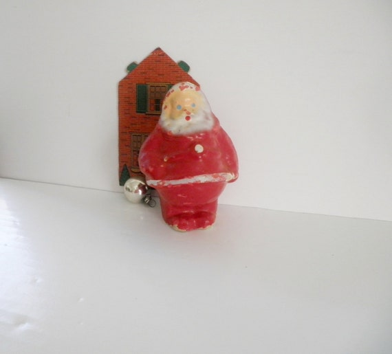 Vintage Santa Claus Candy Container Papier Mache Christmas Toy Decoration 1940's
