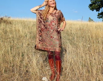 Caftan Dress in Oxblood Burgundy and Gold Cashmere & Silk  with Fringe . Hippie Boho Style Caftan . One Size Fits All