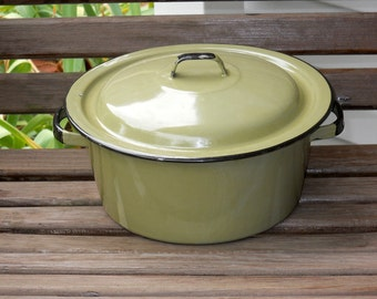 Vintage Avocado Green Enamel Pot Lid Handles