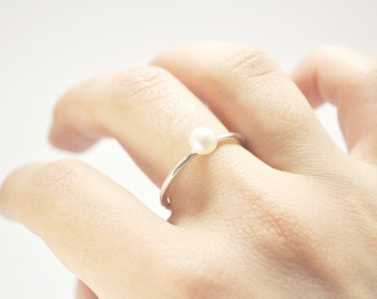 FREE SHIPPING-plain pearl ring-sterling silver
