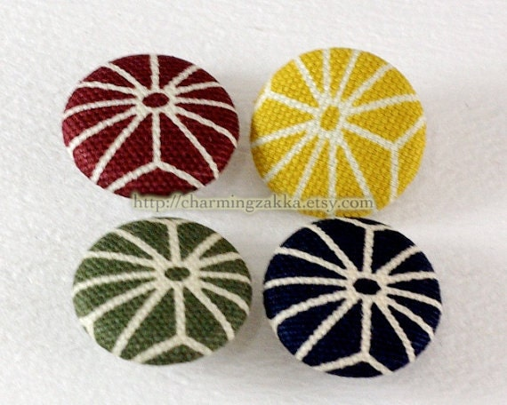 Fabric Covered Buttons (M) - Traditional Asanoha Floral, Choose Your Color (4Pcs, 0.75 Inch)