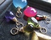 Gemstone pendant, wire wrapped gemstone charm, birthstone charms, weddings