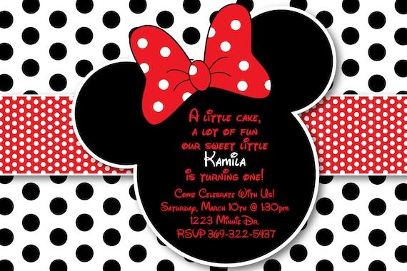 Invitaciónes de Minnie Mouse rojo - Imagui