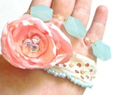 Custom Order for Angie Corry, Lace Bracelet with Peach Flower and Seafoam Beads