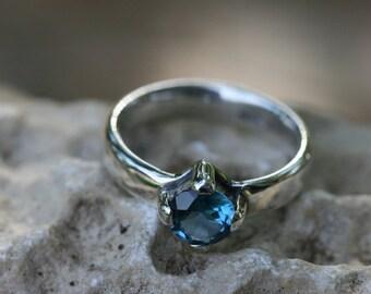 Silver Ring, Blue Stone Ring, Birthstone Ring, Fine Silver Ring, Dark Blue Topaz  Ring, Handmade Sterling Silver Ring,