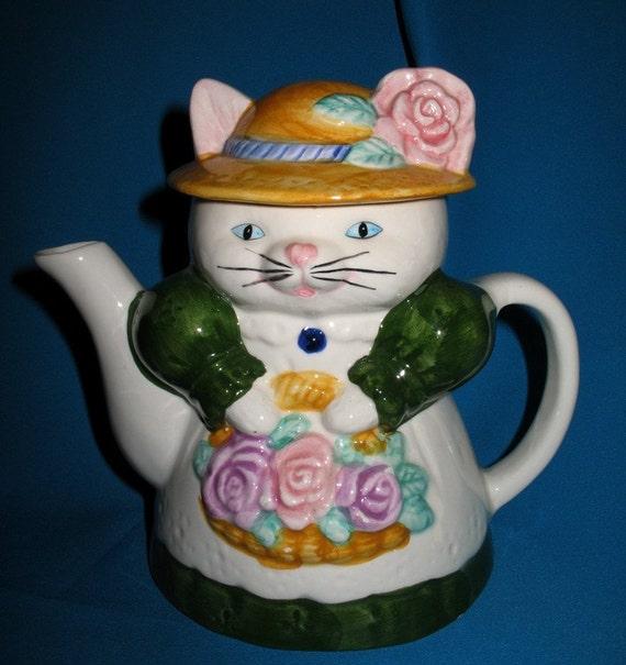 Vintage  Kitza Katza  Teapot Garden Party