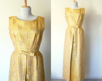Vintage 60s designer Amelia Gray gold brocade cocktail dress sleeveless bow (small)
