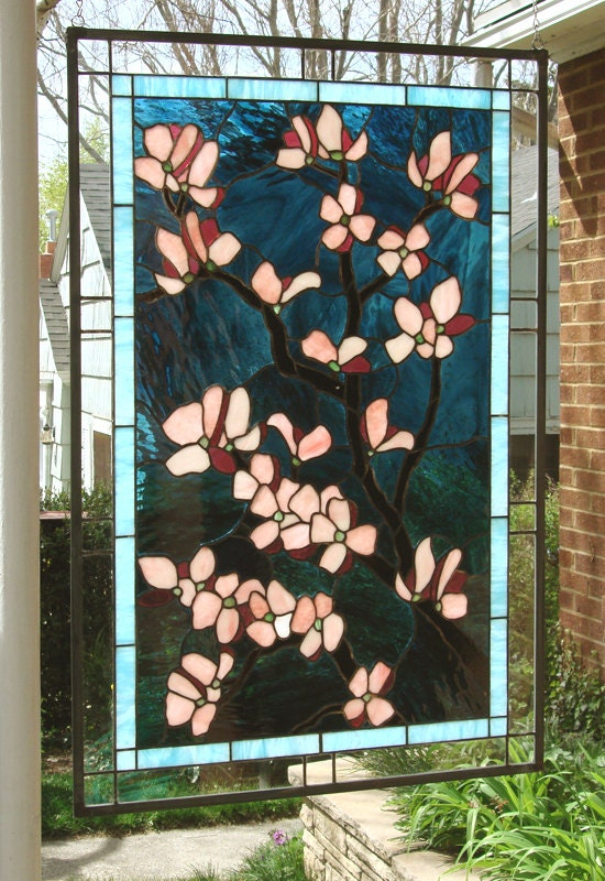 Pink Dogwood Flowers 24 X 36 Stained Glass By