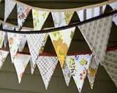 Thanksgiving Autumn Bunting Banner Pennant Flag Garland Decoration / Harvest Festival Celebration / Vintage Sheets / Shabby Chic