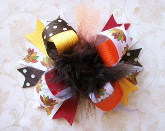 Thanksgiving Hair Bow---Full Size 5.5 Inches Funky Fun Over the Top Bow---Fall Colors, Turkey Ribbon
