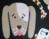 Reserved for Terri - Dogs Smiling on Black with Red Blanket and Paw Prints on Aqua with Green Blanket