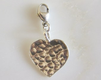 Hammered Heart Karen Hill Tribe Silver Clip On Charm