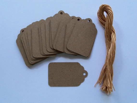 40 Natural Craft gift tags with strings