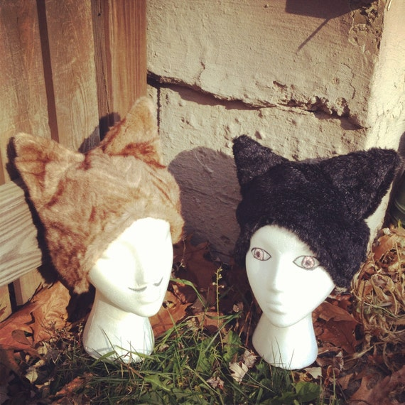 Faux Fur Wolf Hat in Black - SALE 1 left