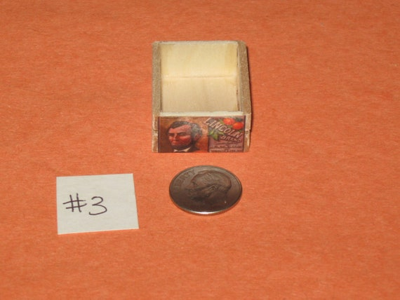 Dollhouse Miniature Handmade OLDE TIME Wooden Fruit Crate Different Front and Back Labels  no. 3