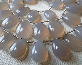 Gray Chalcedony Briolette Beads -  8mm to 10mm  -  AAA Gorgeous - Qty 5 pcs