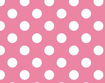 Pink and White Medium Polka Dot Cotton For Riley Blake, 1 Yard