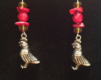 Red and Yellow Rooster Earrings