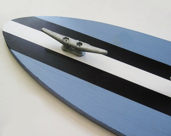 Surfboard Coat Rack in Marina Blue and Black Three Boat Cleats 3 Feet Long