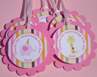 12 Birthday Party Favor Tags - Elephant and Giraffe Stripes - Birthday Party Decorations - Personalized Birthday