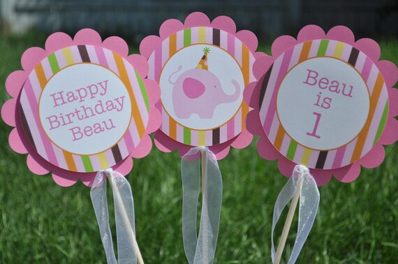 3 Centerpiece Sticks - Elephant and Giraffe Stripes - Birthday Party Decorations - Personalized Table Decorations