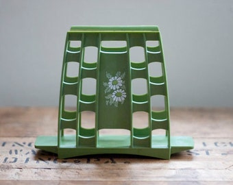 Vintage Napkin Holder in Avocado Green Mid Century