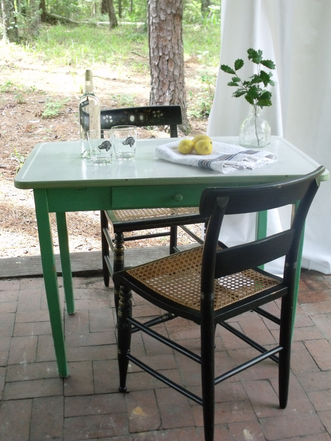 Vintage Metal Top Kitchen Table With Green Frame