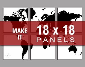 Make it 18x18 - World Map Six Panel Canvas Giclee
