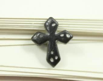 Metal Buttons - Cross Metal Buttons , Black Bronze Color , Shank , 0.47 inch , 10 pcs