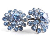 Vintage Blue Rhinestone Clip On Earrings -  Glass Costume Jewelry / Baby Blue Cluster