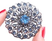 Vintage Blue Rhinestone Heart Brooch - Large Silver Tone Prong Set Round 1960s Jewelry Pin / Ornate Love