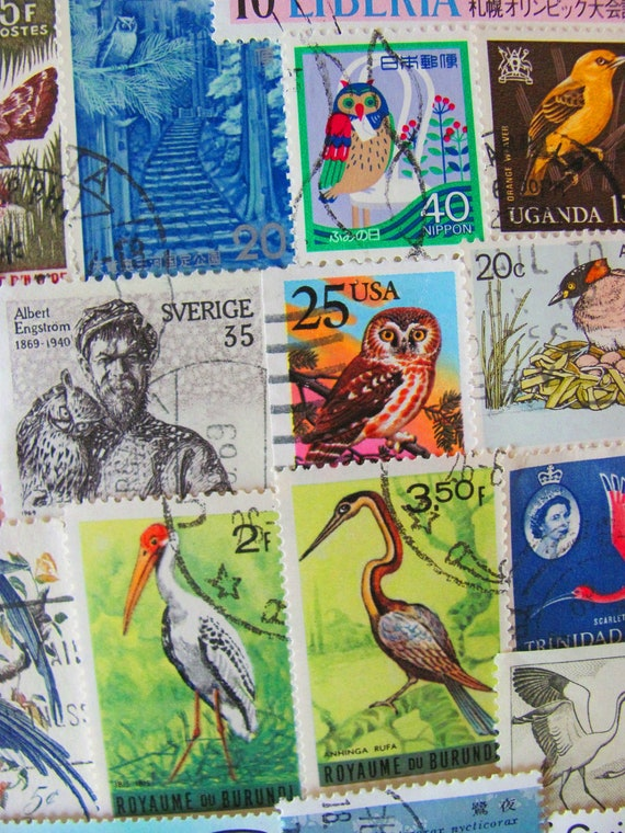 Where Eagles Dare 50 Vintage US Worldwide Bird Postage Stamps Philately Ornithology Birds Water Fowl Stork Toucan Duck Owl Swallow