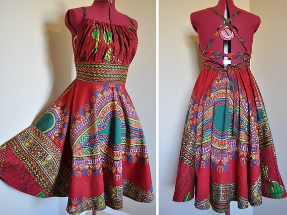 Red Earth Child - Short African Maxi Dress, Ooak Tribal Gown, Corset back, Deep reds, greens, Can fit sizes - S, M, L