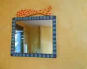 Handmade Hand Painted Bright Multicolor Beach Decor Mirror With Fisch