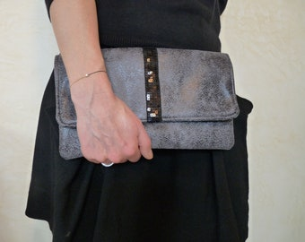 Grey and Black Faux Suede Envelope Clutch - Ultra Suede Purse