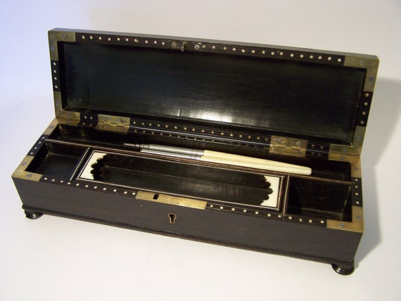 Superb Regnecy Pen Box Ebony Wood Brass & Bone c19th Hand Made Steel Screws Rare