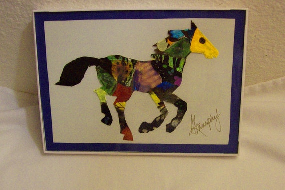 "Real  Butterfly Wings Framed ""Pony"" Collage"