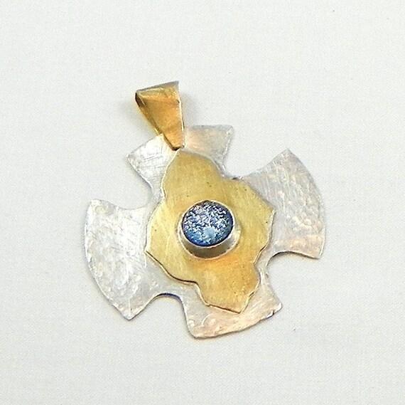 Silver Pendant. Brass Pendant, Dichroic Glass, Greek Cross, Brass and Sterling