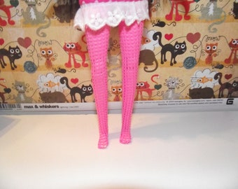 pair of fishnet pink tights stockings for pullip