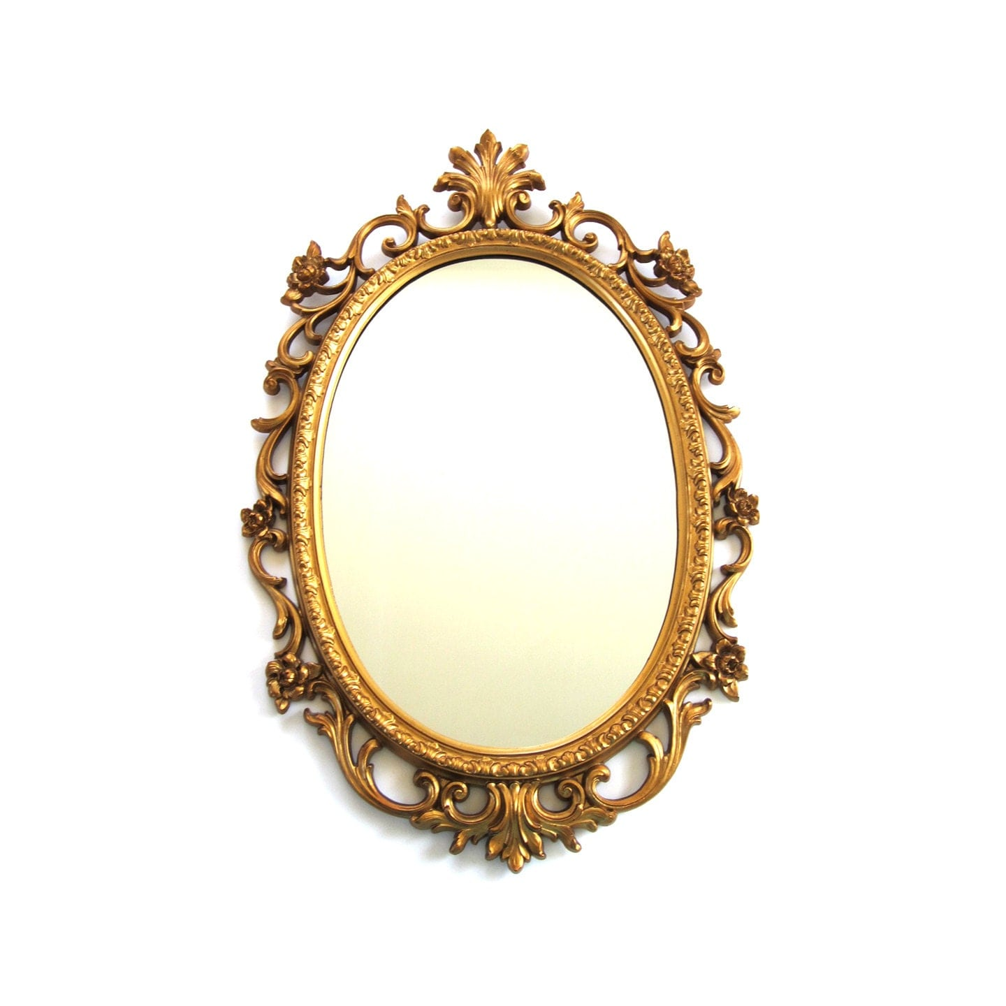 Vintage gold tone resin rococo oval mirror for Baroque resin mirror