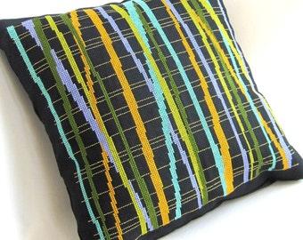 Boho Decor Cross Stitch Pillow OOAK Stripes Olive Lime Aqua Periwinkle Gold Contemporary Home Decor Home Fashion