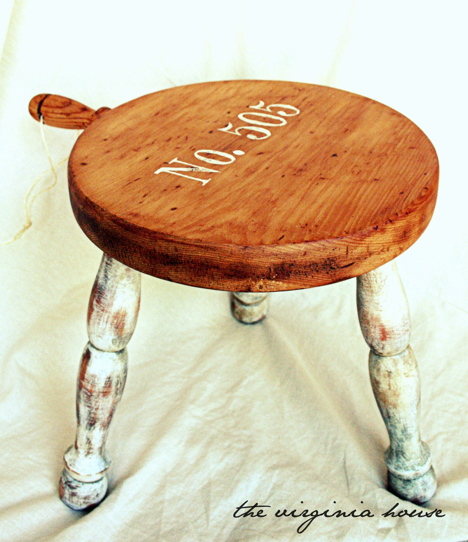 Primitive Vintage Wood Milking Stool Numbered