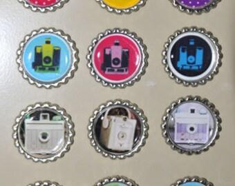 VINTAGE CAMERA, Bottlecap Magnets